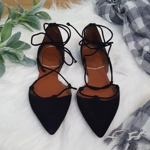 ZARA black suede lace up d orsay flats